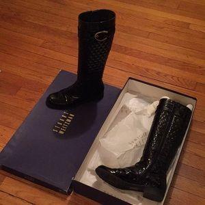 Stuart Weitzman black patent leather boots